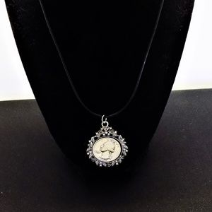 "VINTAGE 90% Silver Coin Pendant w /18"" Necklace"